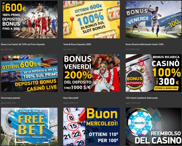 Bet2U bonus e promozioni per lo sport e il casinò