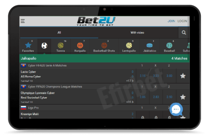 Bet2U scommesse sul mobile, smartphone, tablet, Android e iOS