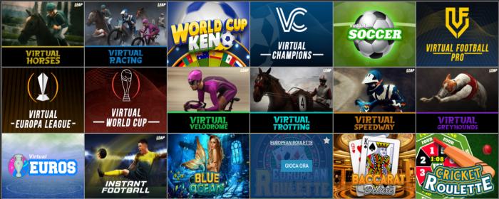 Bet2U scommesse sport virtuali - Calcio, Tennis, Cavalli, Levrieri, ecc